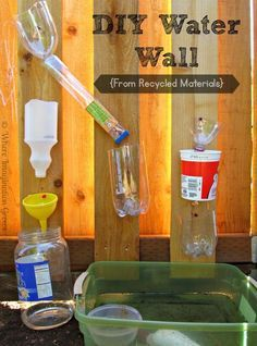 DIY water wall for kids using recycled materials! Fun water play idea for preschoolers and toddlers to do this summer!