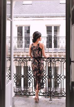 paris balcony cocktail party dress petite fashion blog