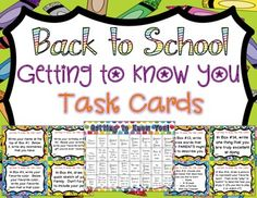"""Back to School Getting to Know You Task Cards!    Enjoy these 32 getting to know you task cards to engage your students during the first few days of school!  They can be used to play Scoot , in a center, one by one as a whole class...or any other way you dream up! I have included a """"Key"""" that shows all the prompts on one page if you would like to display student answers in the hallway or copy it double sided so that parents can see what each box means. Have fun and welcome back to school!$"""