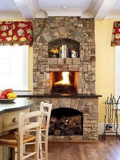 I really want a fireplace in my kitchen. I like this but I'd have to work in a pizza oven.