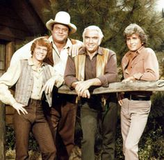 from 1959 to 1973. the second longest running western series (behind Gunsmoke) and still  in syndication. The Cartwright's thousand-sq-mile Ponderosa Ranch located near Virginia City, Nevada. Each of the sons was born to a different wife of Ben's; with none of the mothers still alive. Ben (Lorne Greene), Adam , Hoss (Dan Blocker) and Little Joe (Michael Landon)  the days where family values and the fight for justice were backed up by six-guns that always had right on their side.
