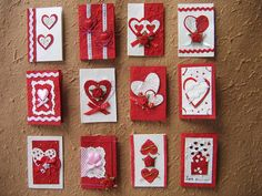 set of handmade Valentines by Ivy Craft ... handmade paper, rick rack, punched and die cut hearts ...