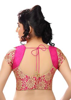 Floral Brocade Party-Wear Pink Sari Blouse SNT-X-264-SL