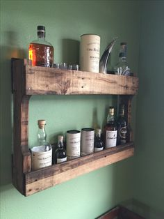 Scotch/whisky storage shelf made from an old pallet.
