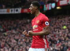April 16th. 2017: Marcus Rashford celebrates the opening goal in a 2-0 victory over League-leaders Chelsea