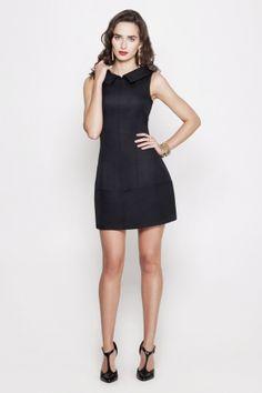 Фото платье женское черное (2030681) размеры XS, S, M, L. Большое фото. Вид спереди.