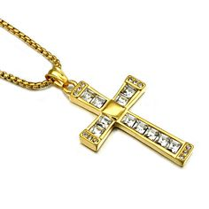 HIP Men Women Trendy Crystal Cross Necklace Gold/Silver Color Stainless Steel Hip Hop Pendants Necklaces Christian Jewelry Gift //Price: $US $3.23 & FREE Shipping //     #hashtag1