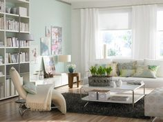 Scandinavian style decorated with white leather sofa patterned fabric cushions in this salon decoration. Choosing white as a color in the area is both a brighter addition to the room and an integrity with the color of the walls. Eclectic Living Room, Interior Design Living Room, Living Room Decor, Bathroom Interior, Living Rooms, Modern Minimalist Living Room, Minimalist Home Decor, Minimalist Lifestyle, Minimalist Bedroom
