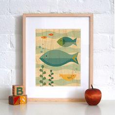 Petit Collage Fish Baby - Print on Wood modern kids decor