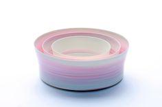 "Inhwa Lee ""Shadowed Color - Cylinder set"" Porcelain, Pigment, Marbling, Wheel throwing, 1280℃ Oxidation Firing, Polishing"
