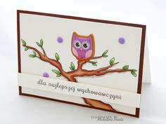 """For the best teacher"": owl is a sticker, the branch is hand drawn and coloured with Winsor&Newton's markers"