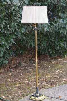 An Ugly Lamp From The Thrift Stores Gets A Makeover Ugly Lamp Brass Thrift Store Lamp Makeover Before Thrift Diving Cheap Furniture Stores, Thrift Store Furniture, Selling Furniture, Brass Floor Lamp, Brass Lamp, Floor Lamp Makeover, Old Lamp Shades, Ikea, Old Lamps