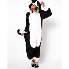 Kigu Black Cat Onesie ($65) ❤ liked on Polyvore featuring intimates, sleepwear, onesie, pajamas, black and body suit