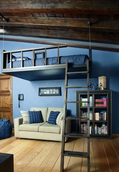 Loft bed with living space underneath. Interior Design Living Room Modern, Interior Design, Bedroom Decor, Bedroom Colors, Cool Rooms, Bedroom Design, Small Bedroom, Cool Loft Beds, Home Decor