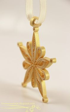 Love in Envelope: Almost 2013 Quilled Gold Snowflake Star Ornament
