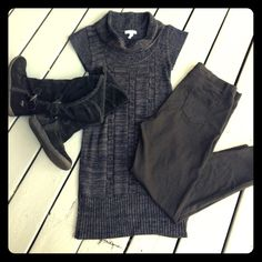 MULTI-WEAR SWEATER DRESS Sweater Dress Size L. Can be worn alone or with Pants,Leggings Etc... Great Sweater,Warm Dresses Midi