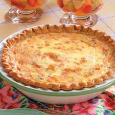 Crab Quiche - I didn't add the red peppers but this was sooooo good. My guests said they didn't like quiche but loved this! Shrimp Quiche anyone. Quiches, Fish Recipes, Seafood Recipes, Cooking Recipes, Cooking Tips, Vegetarian Cooking, Potato Recipes, Vegetable Recipes, Vegetarian Recipes