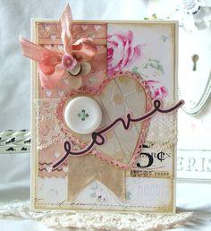 Love Shabby chic Handmade card by iralamijashop on Etsy, $7.25