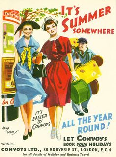 It's summer somewhere! Convoys Ltd. ad, 1953. #vintage #1950s #travel #ads