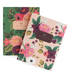 Notebooks- Vintage Blossoms Set of two with gold accents