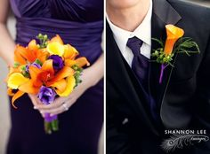 Orange and purple bridesmaid bouquet and groomsmen boutonniere. Photo: Shannon Lee Images.