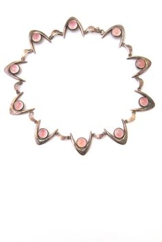 Arne Johansen, Denmark - sterling silver & rose quartz boomerang necklace
