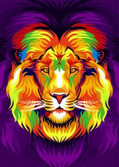 Animal poster prints by Cholik Hamka Tiger Poster, Lion Painting, Colorful Animals, Animal Posters, Arte Pop, Poster Making, New Artists, Cool Artwork, Art Sketches