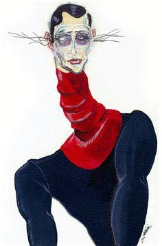 Funky McQueen illustration. Illustration.Files: Alexander McQueen F/W 2013 Menswear by Achraf Amiri | Draw A Dot.