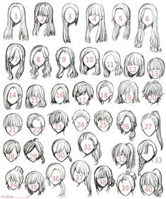 Ideas for hair art reference anime girls - Manga Hair - ideas anime Anime Drawings Sketches, Pencil Art Drawings, Cute Drawings, Easy Hair Drawings, Cute Eyes Drawing, Girl Drawings, Hair Reference, Art Reference Poses, Drawing Reference