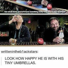 Who knew Crowley is a girly drunk?