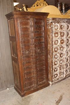 Make your home the castle of your dreams with plenty of storage space with our patina doors Carved Wardrobe cabinet. Iron latch and straps and rustic washed patina , Haveli doors are used to create beautiful and amazing almirahs. Cupboard Wardrobe, Wardrobe Cabinets, Cabinet Furniture, Antique Furniture, Craft Armoire, Vintage Armoire, Indian Doors, Gun Storage, Antique Doors