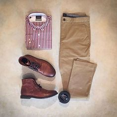 Sharp look by @votrends featuring our Red Gingham Madison Shirt and Tan Bowie…