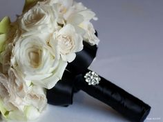Black and white bouquet with diamonte