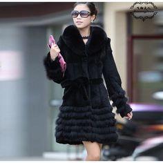 Real Fox Feather Collar Belt Fur Coat Black via Polyvore