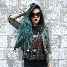 Wonderful granny green ombre hair color choice for black hair~ incredible fashion look