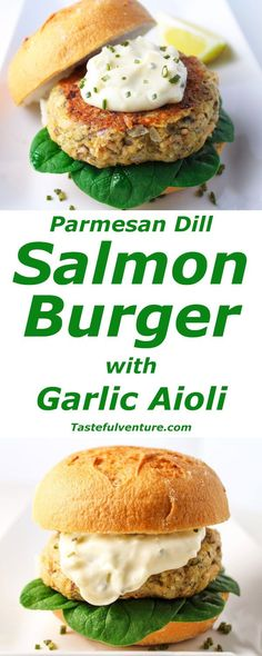 This Parmesan Dill Salmon Burger with Garlic Aioli has such an amazing flavor, and is super easy to make! We made this version Gluten Free! | http://Tastefulventure.com