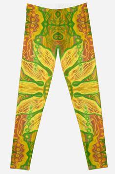"""Sun Flower, bohemian floral pattern, yellow, green & orange"" Leggings by clipsocallipso | Redbubble"