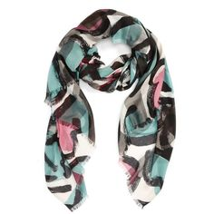 Women's Burberry Abstract Floral Print Scarf ($435) ❤ liked on Polyvore featuring accessories, scarves, burberry, floral scarves, burberry scarves, floral print scarves and floral shawl