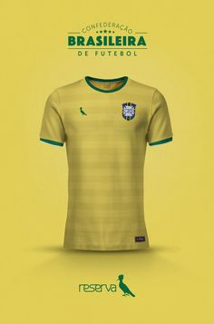 National Football kits reimagined with Local Brand sponsorship by Emilio Sansolini - Confederçao Brasileira De Futebol x Reserva Soccer Kits, Football Kits, Football Jerseys, Football Players, Hugo Boss, Camisa Retro, International Football, Football Wallpaper, Team Shirts