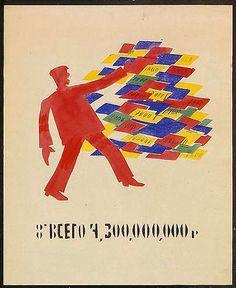 Vladimir Maiakovski, 1921 Affiche pour une Fenêtre Rosta « Total 4.300.000.000 roubles » Dimensions inconnues. Source PriskaPasquer.com