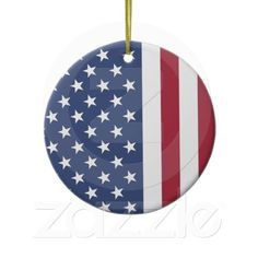 Stars and Stripes Patriotic Design Round Ornament by #SjasisPatrioticSpace