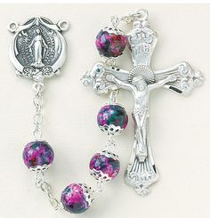Pink Marble Double Capped Glass Bead Sterling Rosary by HMH | Catholic Shopping .com