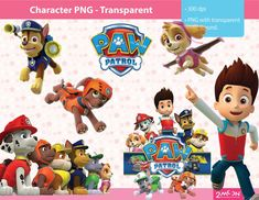PAW PATROL  12 papers  characters clipart   6 backgrounds by 2moon