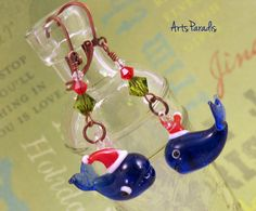 A Whale of a Time - Christmas Blown Glass and Swarovski Copper Earrings by ArtsParadis
