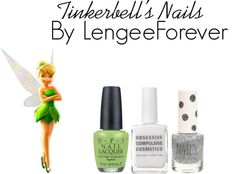 """Tinkerbell's nails"" by niley12345 on Polyvore"
