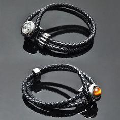 Leather Braided Lux Jewel Cuff-Bracelet 130 - GUYLOOK