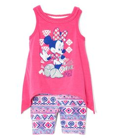 Take a look at this Pink Minnie Sidetail Tank & Shorts - Infant, Toddler & Girls today!