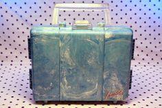 Caboodles Small Eye Shadow Makeup Case Blue Organizer Marble Vintage Model 5607 | eBay