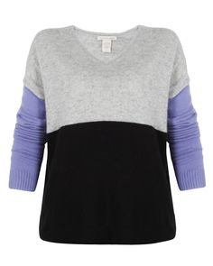 Colorblock V Neck - lived in this sweater from White and Warren all season!  ❤ Find it at FashionExists.com