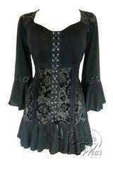 Dare to Wear Victorian Gothic Cabaret Top in Black Dahlia | Dare Fashion